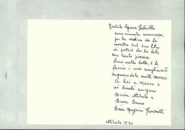 Lettera di Dina Magrini Fanciulli