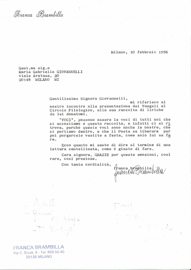 Lettera di Franca Brambilla