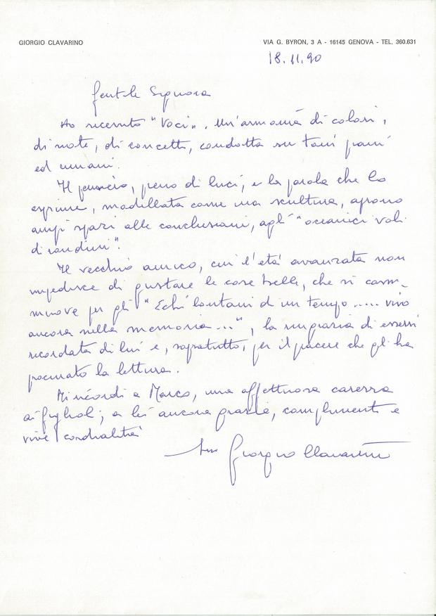 Lettera di Giorgio Clavarino